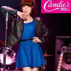 Candies Blue Lace Open Back Dress